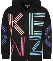 kenzo black girl sweatshirt with colorful logo