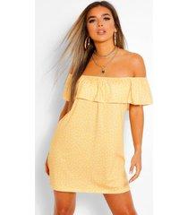 petite polka dot off the shoulder swing dress, yellow