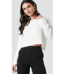 trendyol knit detailed crop sweater - white