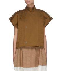 button mock neck cotton blouse