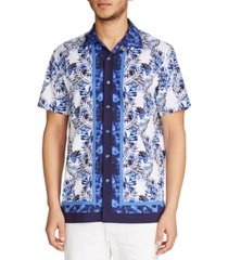 tallia men's slim fit performance stretch leaf print short sleeve camp shirt