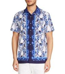 tallia men's slim fit performance stretch leaf print short sleeve camp shirt
