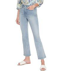 nydj embroidered high waist frayed ankle slim bootcut jeans, size 12 in clean affection at nordstrom