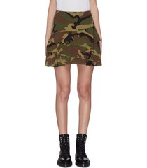 camo print flounce mini skirt
