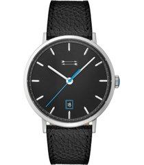 uri minkoff men's norrebro black leather strap watch 40mm