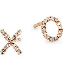 14k gold & 0.09 tcw diamond mismatched earrings