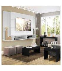"""painel para tv 60"""" com aparador, mesa de centro e mesa lateral tókio multimóveis branco/preto"""