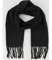 cachecol unissex com franjas preto