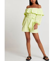 river island womens green bardot frill belted playsuit