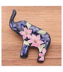 ceramic brooch pin, 'black floral elephant' (thailand)