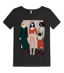 lez a lez - t-shirt estampada com glitter preto reativo