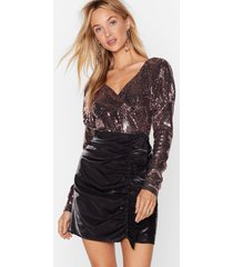womens disco fever glitter high-leg bodysuit - rose gold
