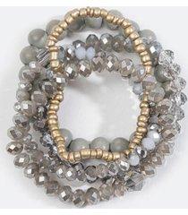 carolyn beaded bracelet set - gray