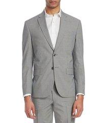 jack victor men's modern micro check seersucker jacket - grey - size 42 r