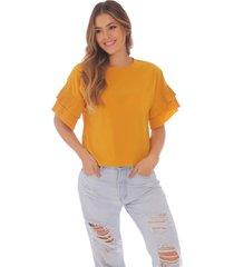 blusa para mujer con mangas plisadas
