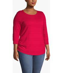 lane bryant women's 3/4-sleeve ruched-side sweater 26/28 crimson