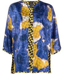 etro floral-print silk coat - blue