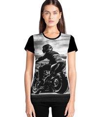 camiseta feminina ramavi moto manga curta