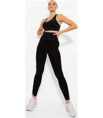 naadloze hot legging met ondersteunende tailleband, zwart