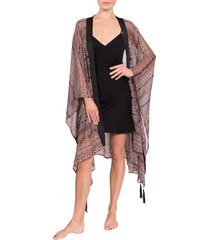 women's everyday ritual tassel tie robe, size one size - brown