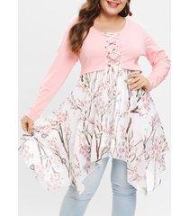 plus size lace up peach blossom handkerchief t-shirt