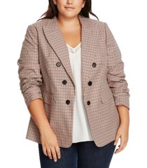 1.state trendy plus size ruched-sleeve plaid blazer