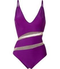 gloria coelho sheer panels swimsuit - purple