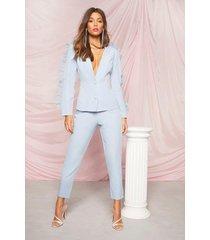 getailleerde toelopende nette broek, blauw