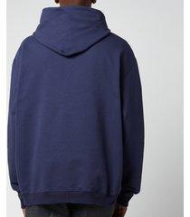 maison margiela men's centre logo compact hoodie - indigo - 50/l