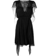 alberta ferretti lace panel silk dress - black