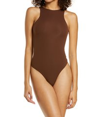 skims fits everybody high neck bodysuit, size x-small in cocoa at nordstrom