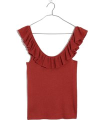 women's madewell wakeford ruffle sweater tank, size xx-large - coral