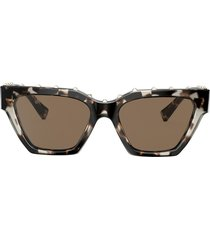 valentino eyewear micro-studded square sunglasses - brown