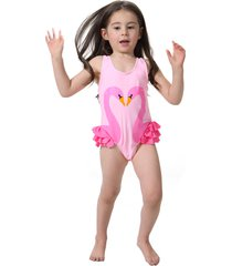2017 hot swimwear flamingo black swan pattern one piece swimming suits costume