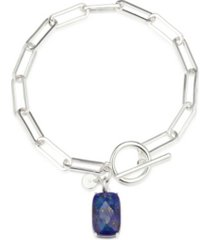 unwritten fine silver plated genuine lapis stone toggle link bracelet