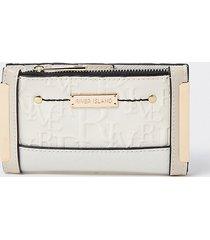 river island womens cream ri embossed mini foldout purse