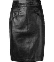 alaïa pre-owned 1980 leather pencil skirt - black