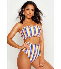 seersucker rainbow bandeau bikini, multi