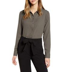 women's halogen long sleeve woven shirt, size large - grey