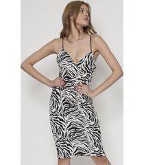vestido ajustado blanco / negro 609 seisceronueve