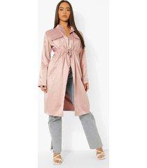 duster jas met zak detail en geplooide taille, dusky pink