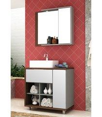 conjunto para banheiro lazio c/ cuba nogal malaga/argento bosi - marrom - dafiti