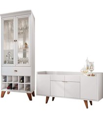 conjunto cristaleira bar adega e buffet aparador balcão albâni/andorra branco - gran belo