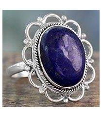 lapis lazuli cocktail ring, 'floral jaipur' (india)