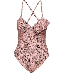 frill front maillot badpak badkleding roze seafolly