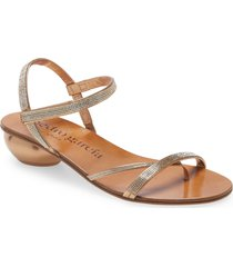 pedro garcia zelin embellished thong sandal, size 5us in tan foil at nordstrom