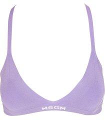 msgm purple ribbed knit logo-hem bra