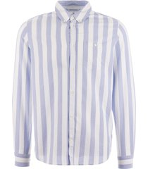 norse projects anton oxford shirt - pale blue wide stripe n40-0456