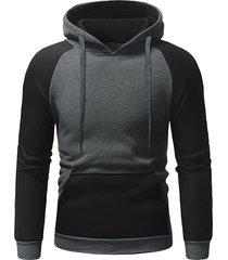 color block pocket hoodie