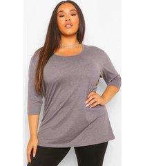 plus basic oversized t-shirt met langere achter zoom en driekwarts mouwen, charcoal